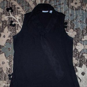 NY&Co Black Sleeveless Top with Flyaway Tie